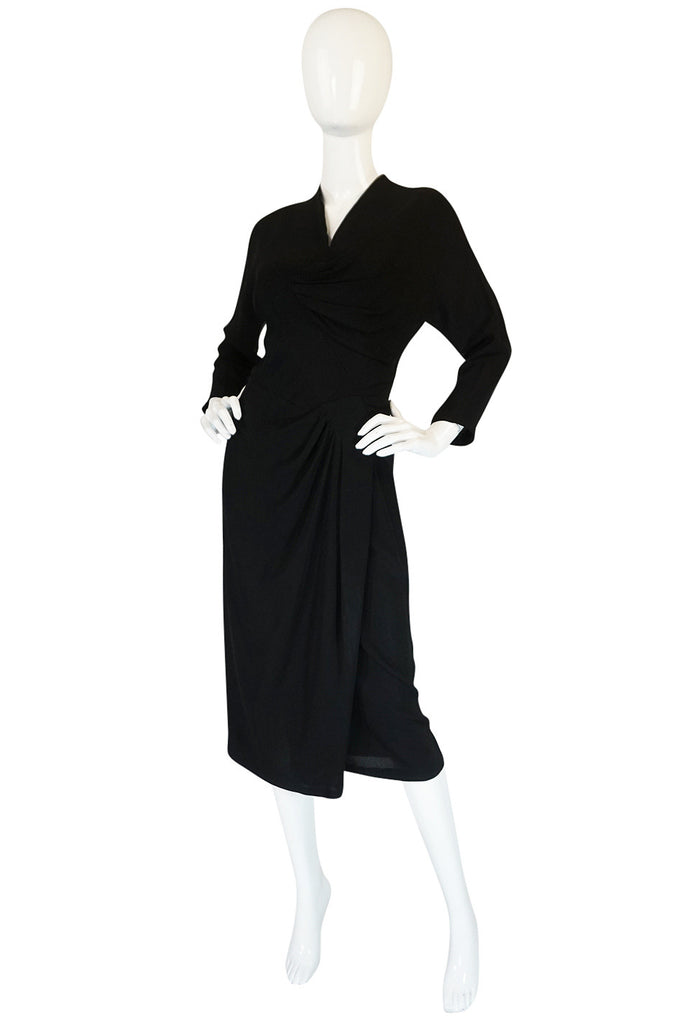 1950s Dorothy O'Hara Draped Front Black Crepe Dress