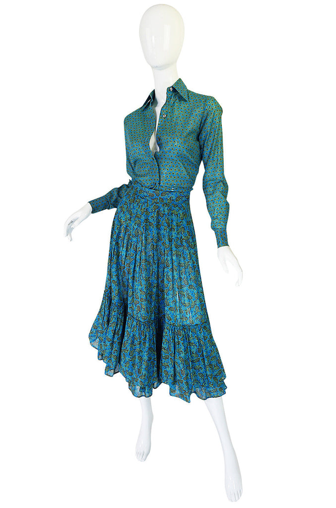 1970s Yves Saint Laurent Ruffled Tiered Skirt & Top Set