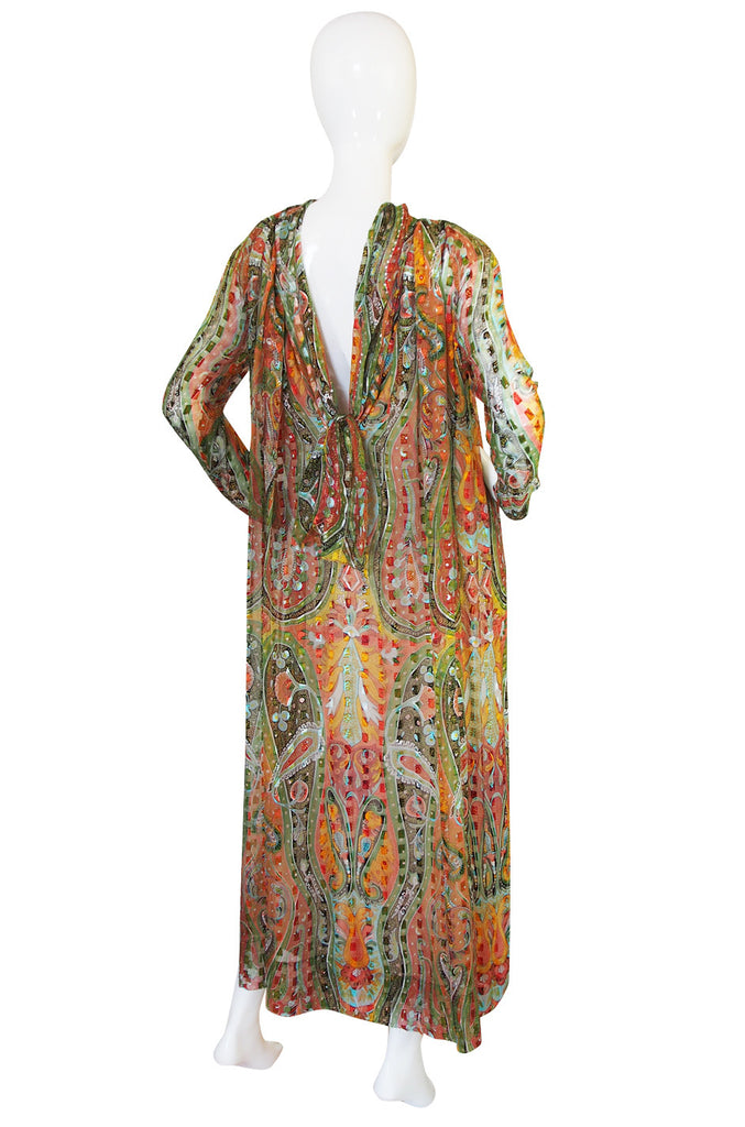 1970s Silk Chiffon Pauline Trigere Caftan Dress