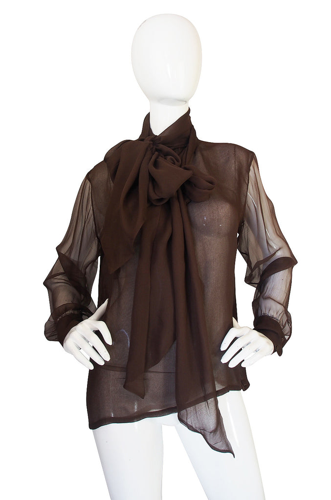 1970s Yves Saint Laurent Chocolate Silk Chiffon Top