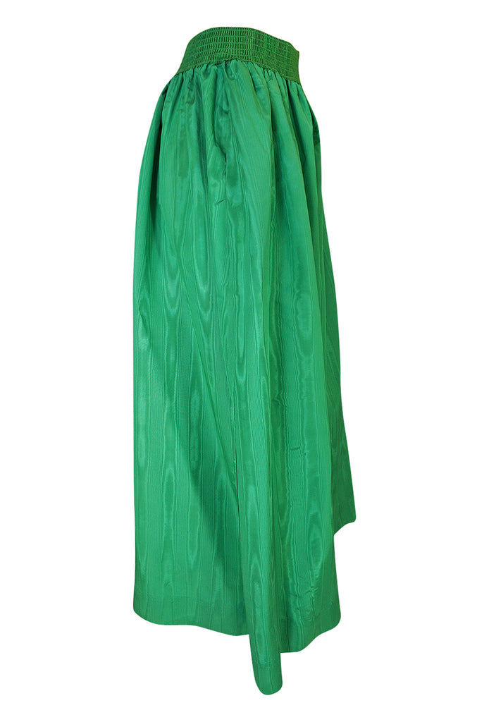 1970s Ladd Ltd Bright Emerald Green Moire Silk Taffeta Skirt