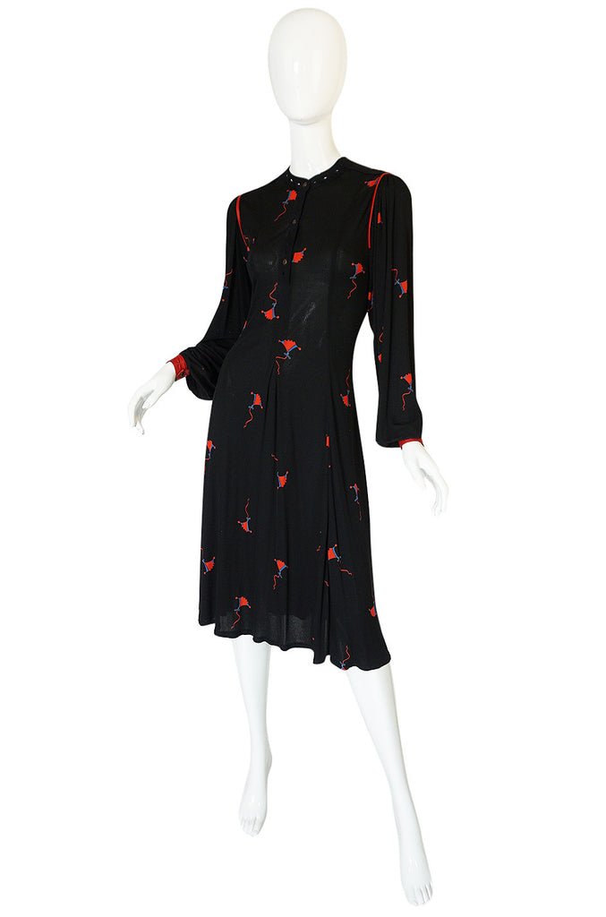 1970s Ann Buck Jersey with Leather Trim Print Dress