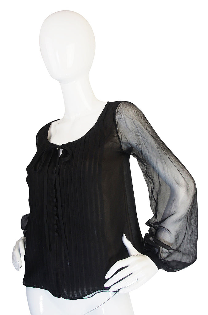 1976 Yves Saint Laurent Haute Couture Silk Chiffon Top
