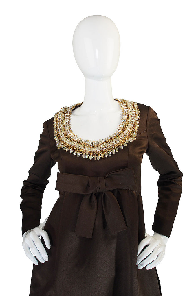 1960s Heavily Beaded Neckline Sarmi Silk Dress