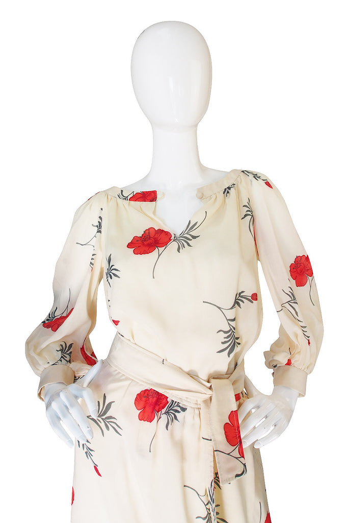 Pretty 1970s Ted Lapidus Floral Skirt & Top Set