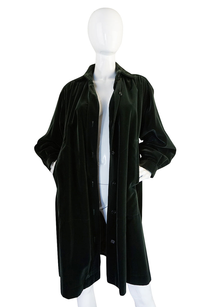 1970s Bottle Green Yves Saint Laurent Velvet Smock Coat
