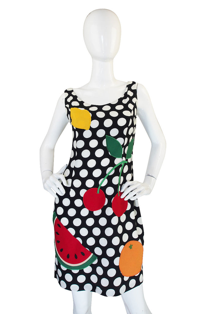 1990s Moschino Cheap & Chic Fruit and Dot Dress