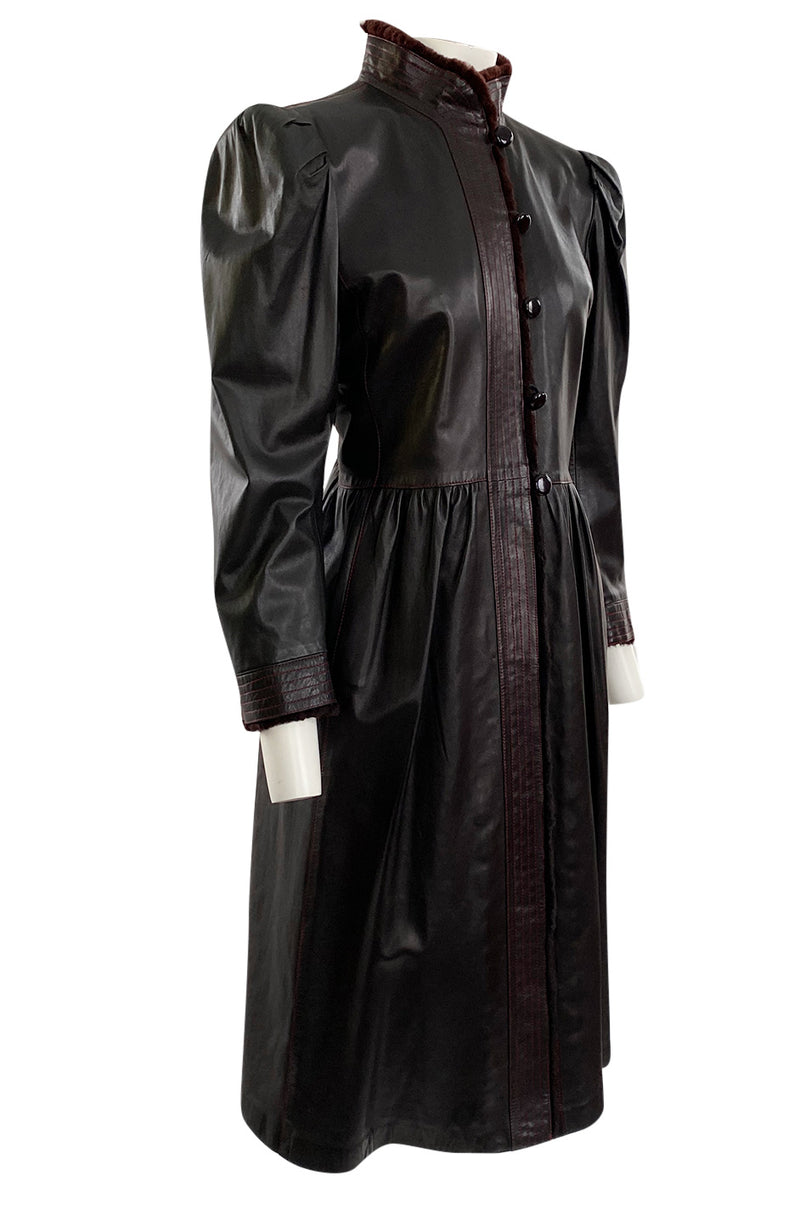Documented Fall 1976 Yves Saint Laurent Russian Collection Leather Coat w Sheared Sheepskin Trim