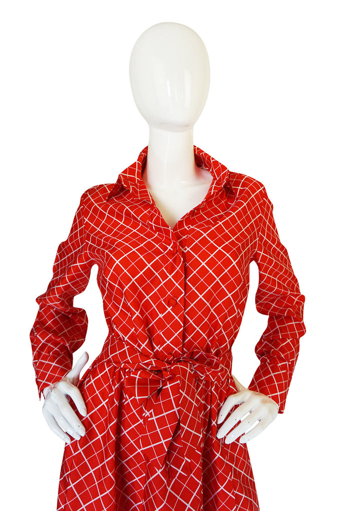 Chic 1970s Belted Red Print Lanvin Shirt Dress