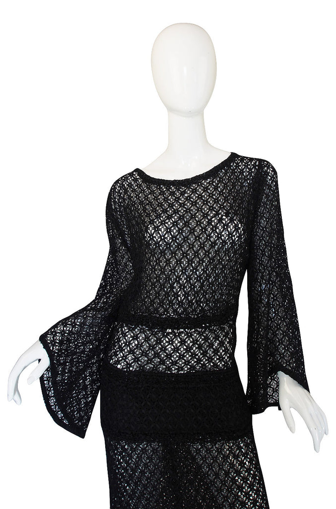 1930s Black Wide Sleeve 'Ribbon' Dress