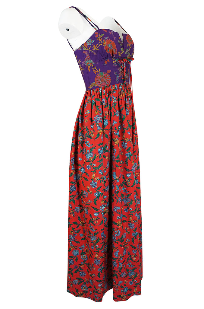 1970s Mollie Parnis Corset Front Purple & Red Floral Print Dress