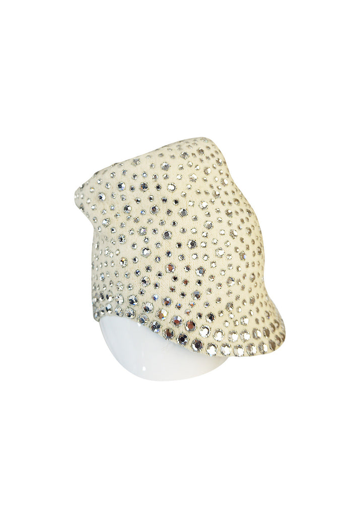 1960s Dorothy McGuire Owned Rhinestone Studded Cream Cloche