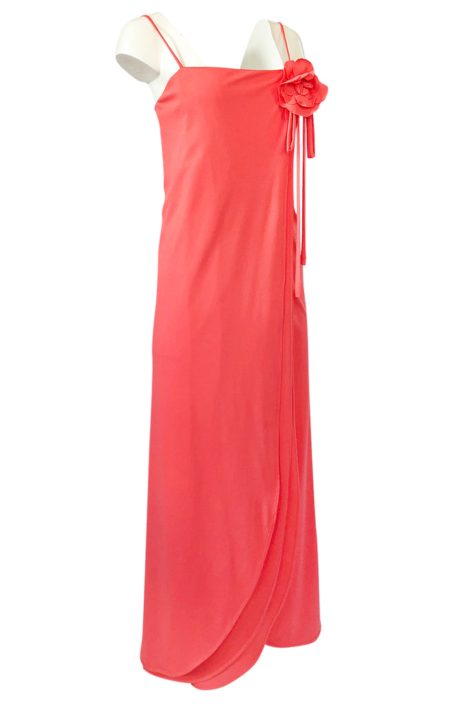1970s Jack Bryan Layered Coral Jersey Full Length Maxi Dress