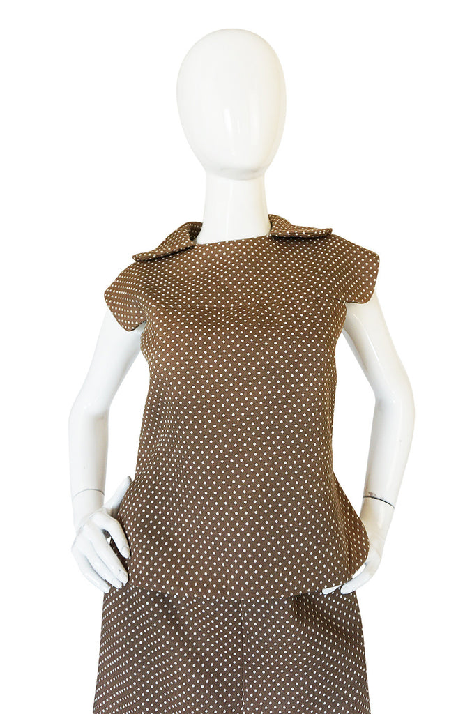 Darling 1960s Dotted Pierre Cardin Top and Skirt Set