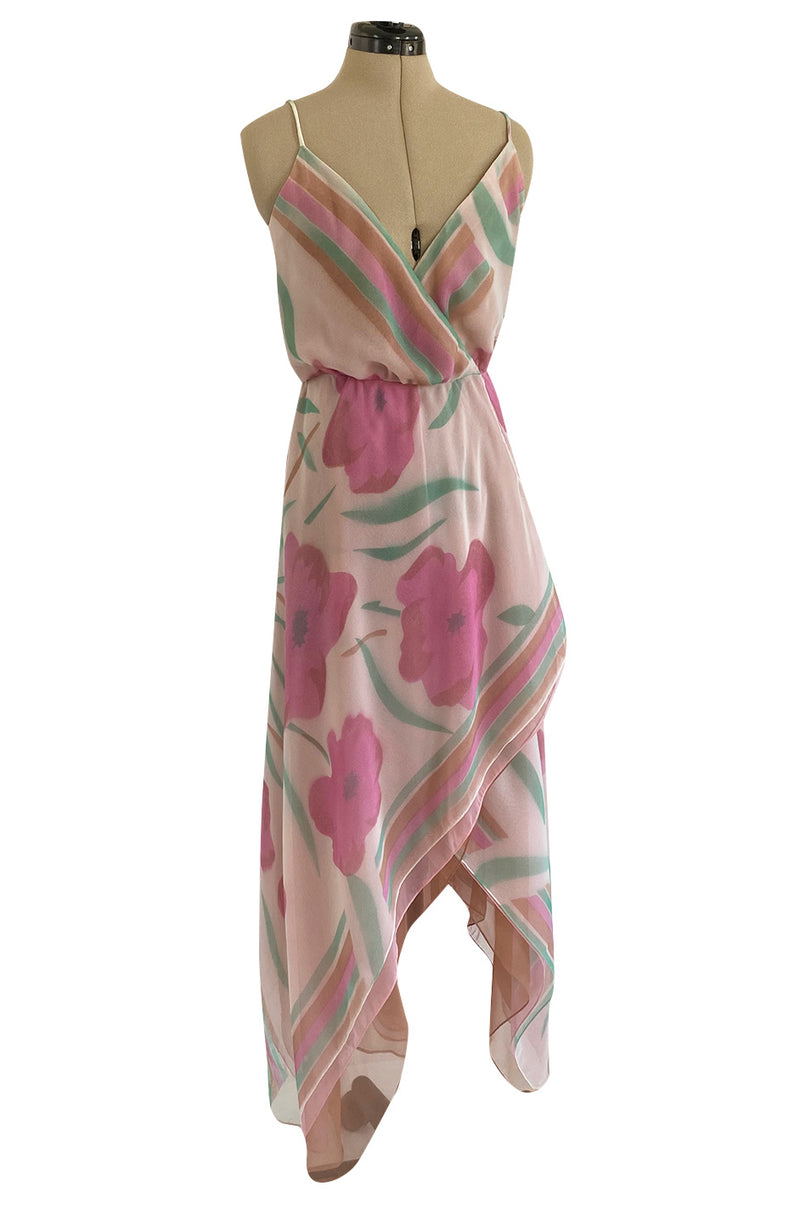 Pretty 1970s Multiple Layer Pink Floral Chiffon Wrap Dress w Asymmetrical Hem
