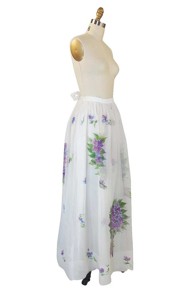 1970s Hand Painted Silk Organza Adolfo Skirt