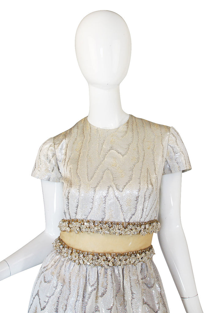 1960s Heavily Beaded Midriff Illusion Silver Gown