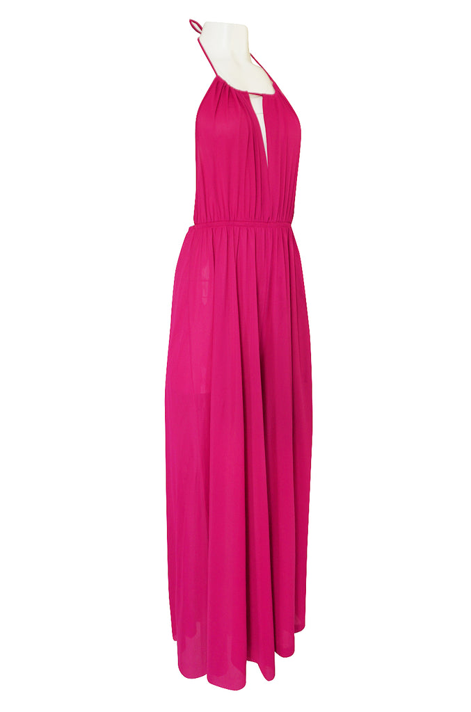1960s Unlabelled Bright Pink Nylon Wide Leg Backless Jumpsuit
