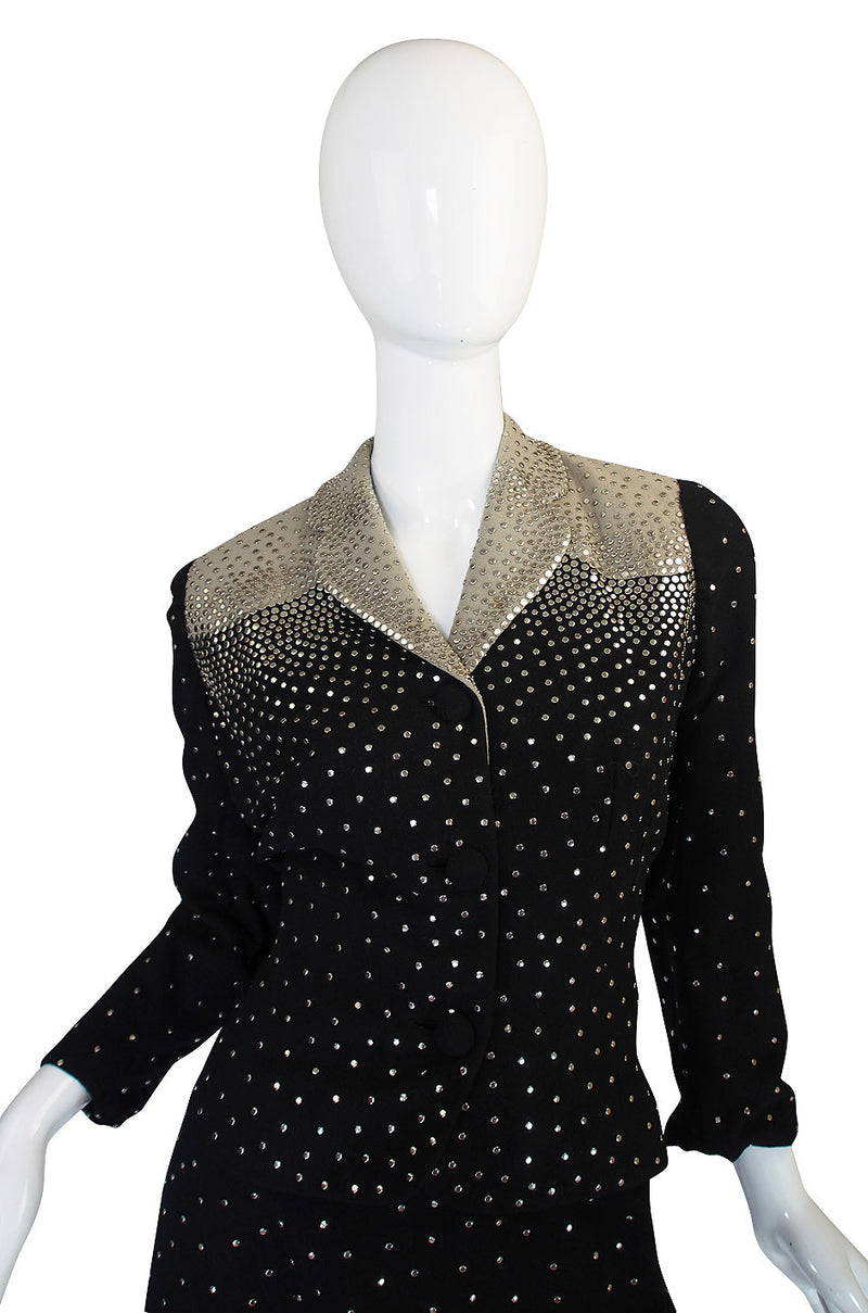 Rare 1940s Fred Block Studded Black Crepe Suit