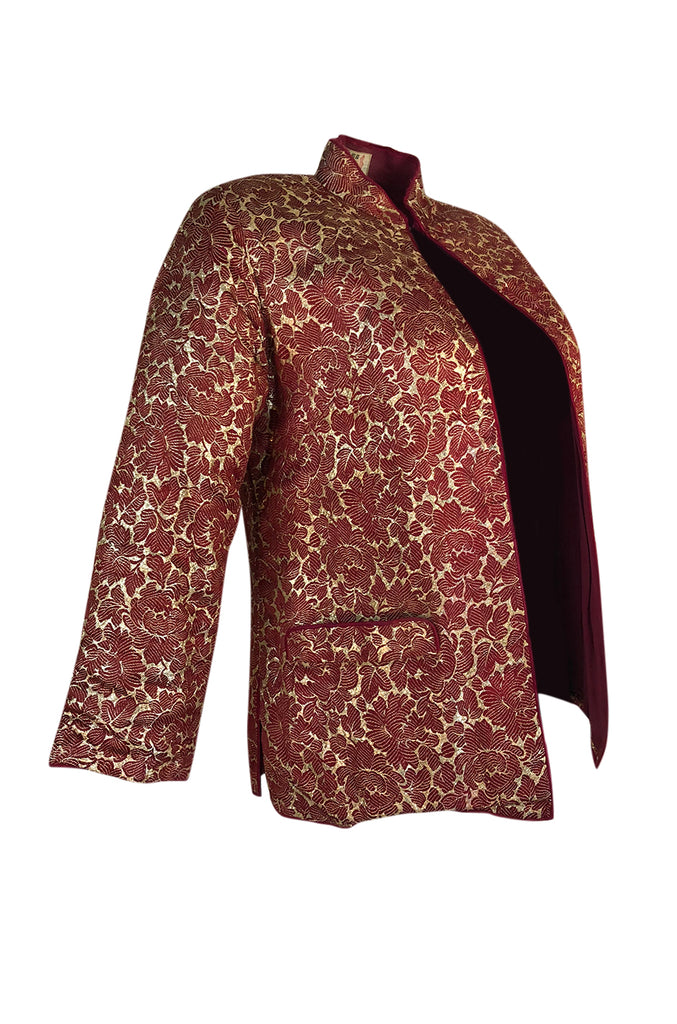 1930s Unlabeled Rich Burgundy & Gold Silk Brocade Asian Jacket