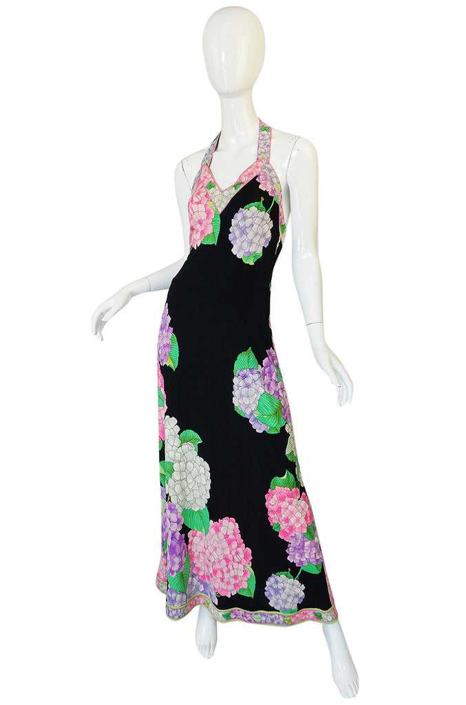 Gorgeous 1970s Silk Jersey Floral Print Leonard Halter Dress