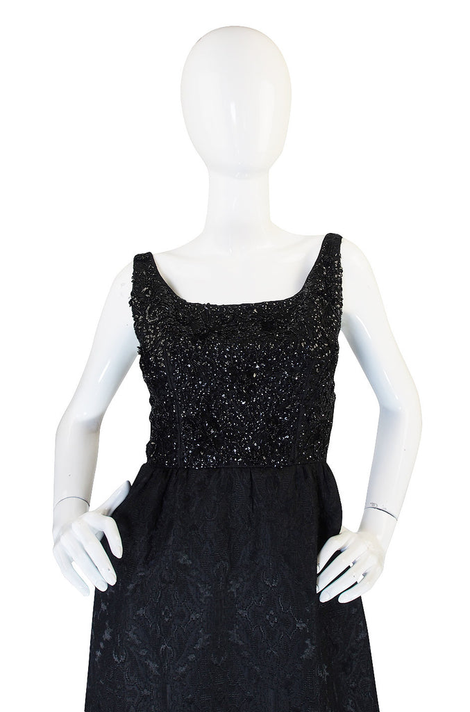 Treasure Item - 1960s Nathan Strong Black Silk Beaded Gown