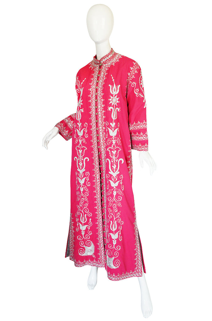 1960s Silver Thread Embroidered Pink Adonis Caftan