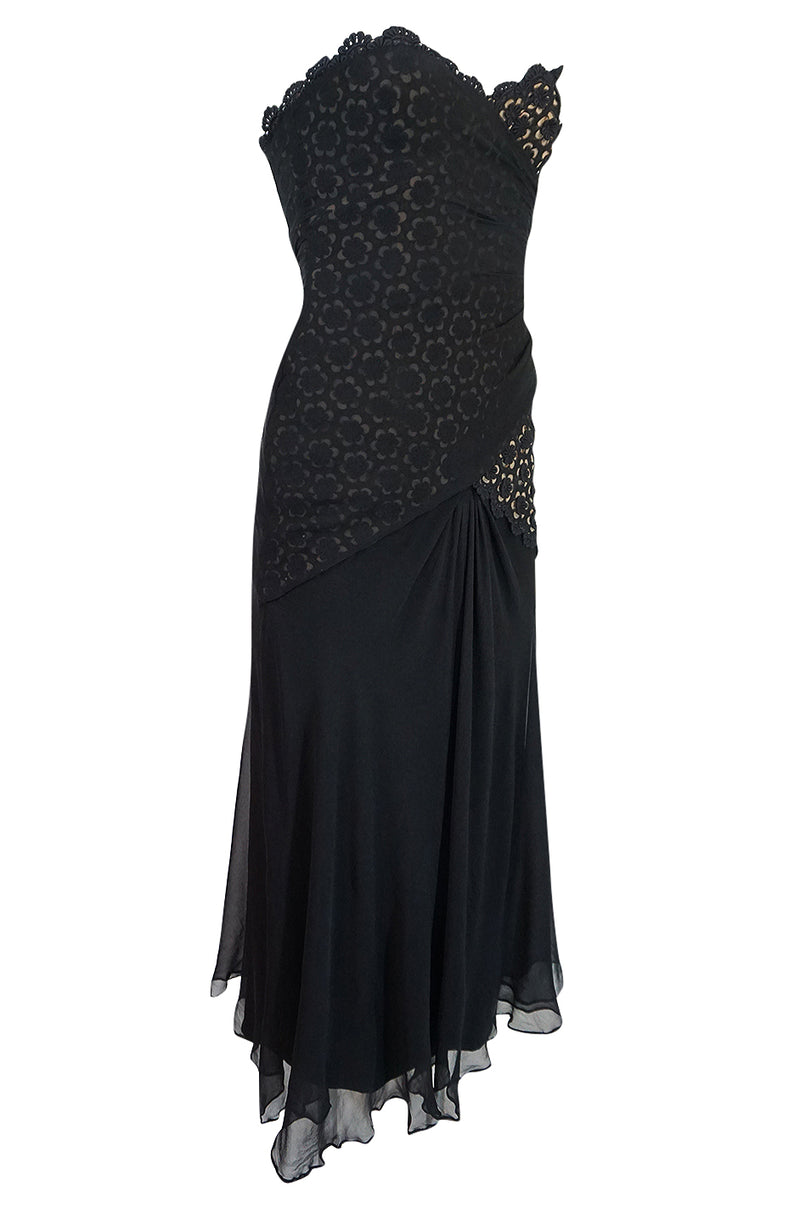 1970s Bill Blass Strapless Silk Chiffon & Floral Lace Dress