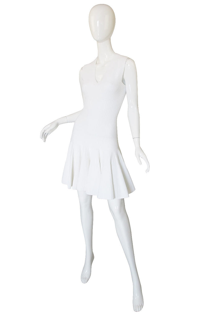 Recent Azzedine Alaia White Knit Flared Skirt Dress