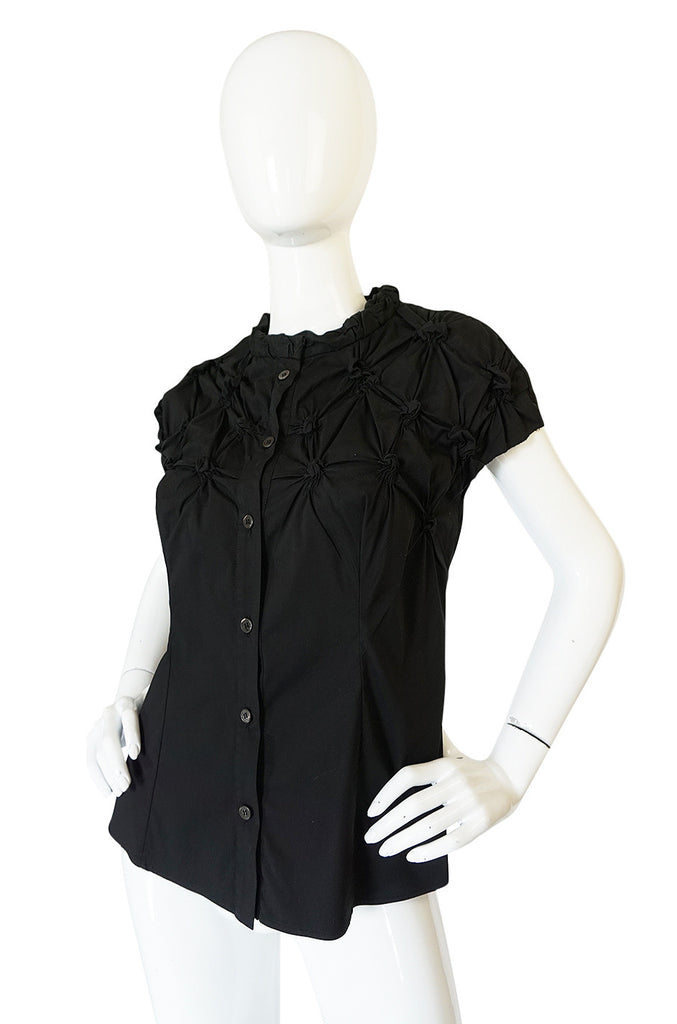 "c2007 Prada Black Gathered ""Knot"" Black Top"