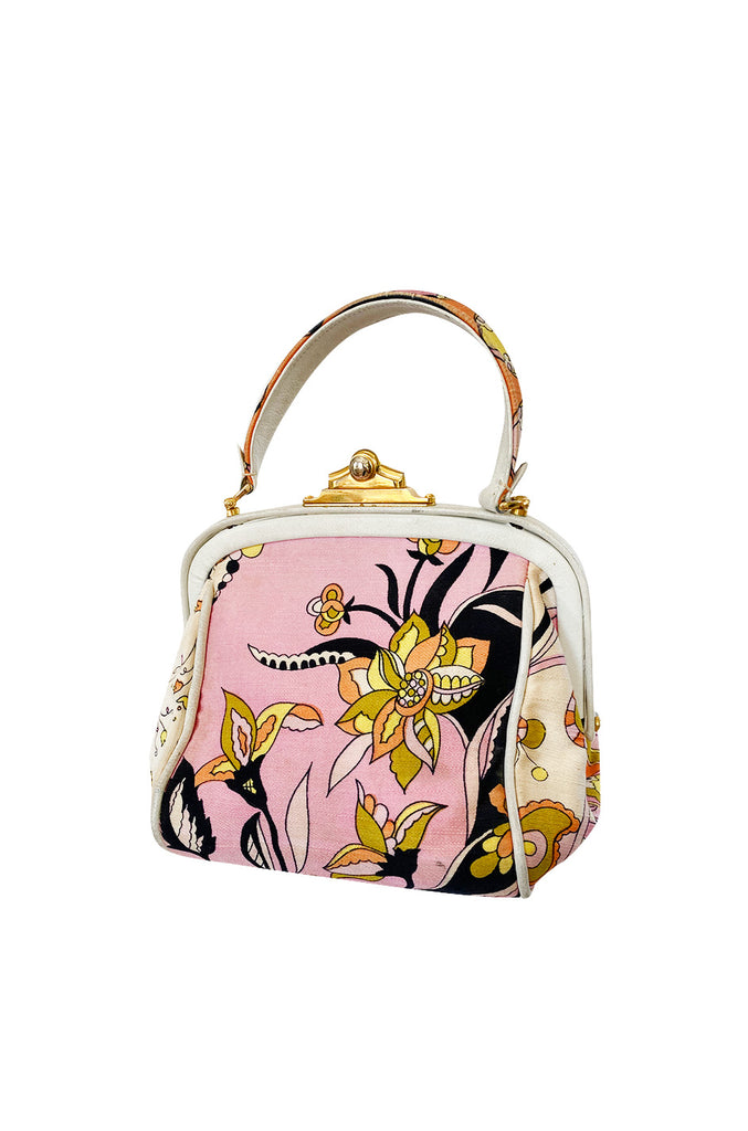 1960s Emilio Pucci Soft Pink Floral Pinted Silk Top Handle Mini Bag