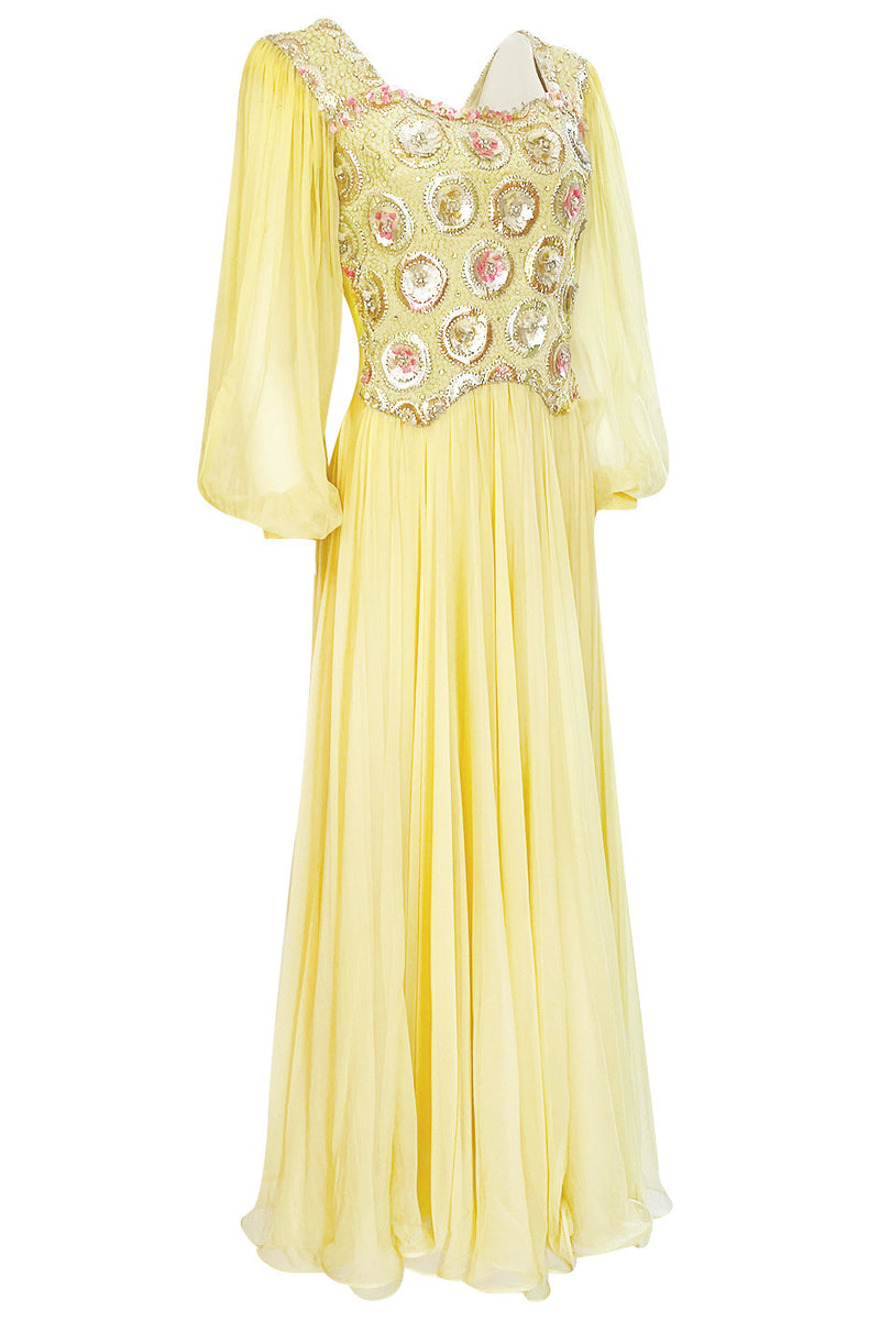 1960s Tiziani by Karl Lagerfeld Couture Densely Beaded Yellow Silk Dress