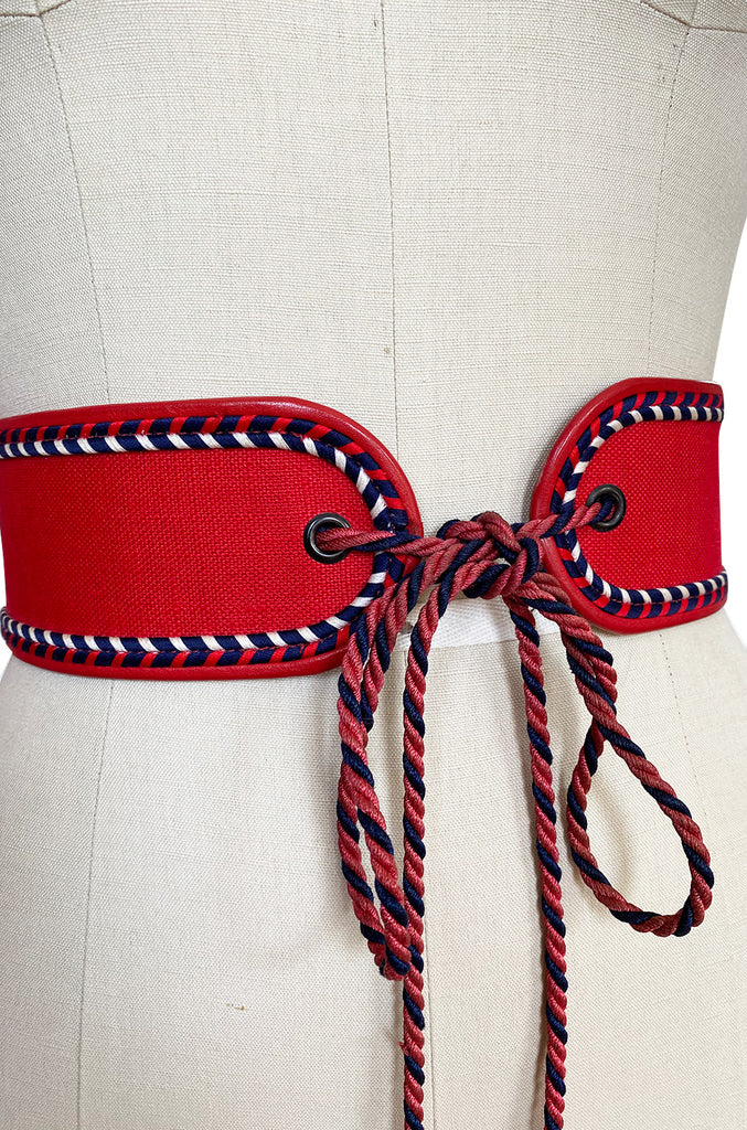 1976-77 Yves Saint Laurent Russian Collection Red Braided Tie Belt