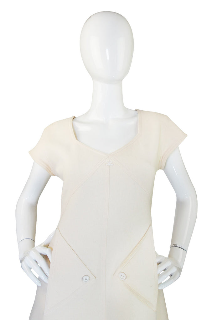 1980s Fabulous Cream Courreges Shift Dress