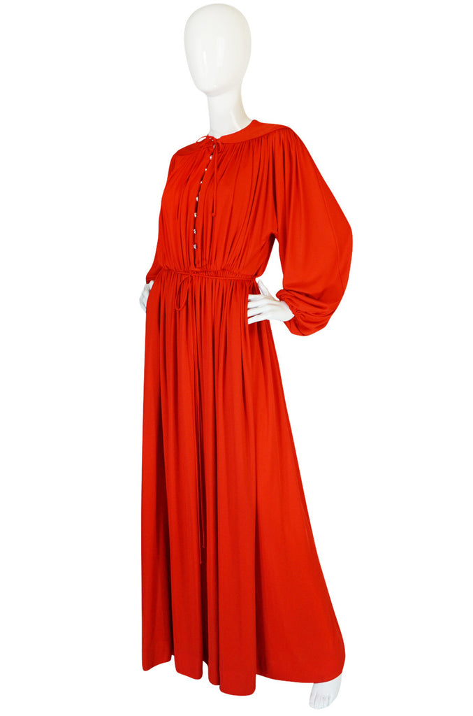 1970s Donald Brooks Red Jersey Crystal Button Dress