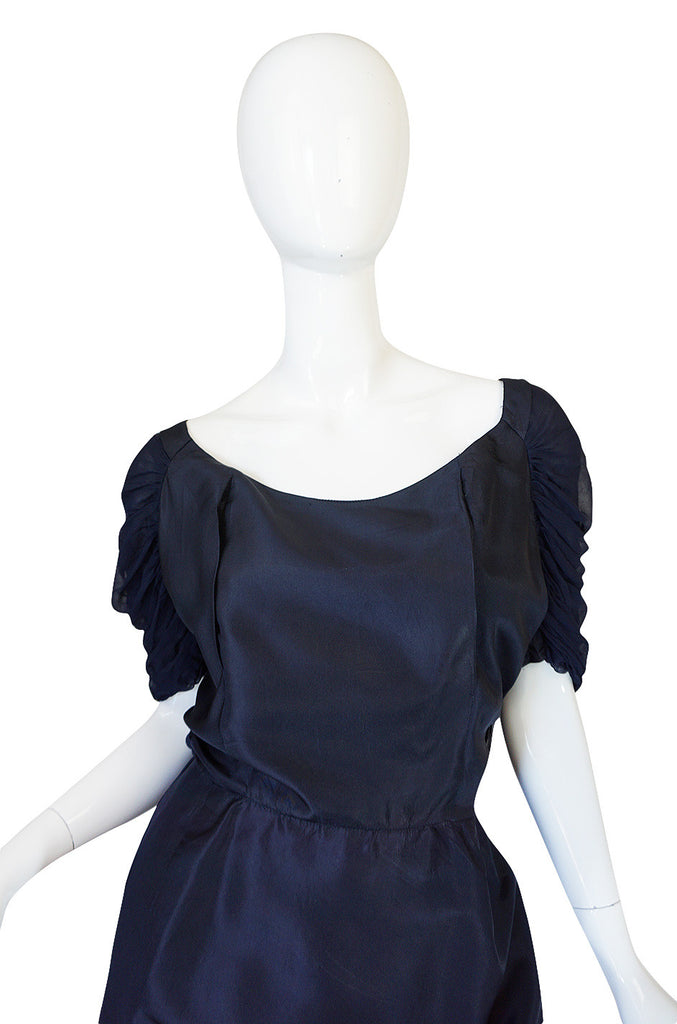 1950s Don Loper Blue Silk Dress w Chiffon Draped Back