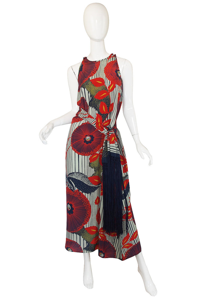 1930s Exceptional Deco Silk Print Dress & Scarf
