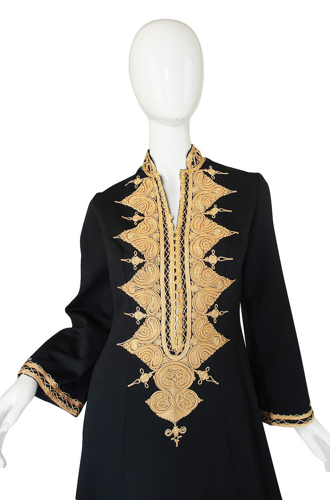 1970s Vintage Black and Gold Applique Caftan