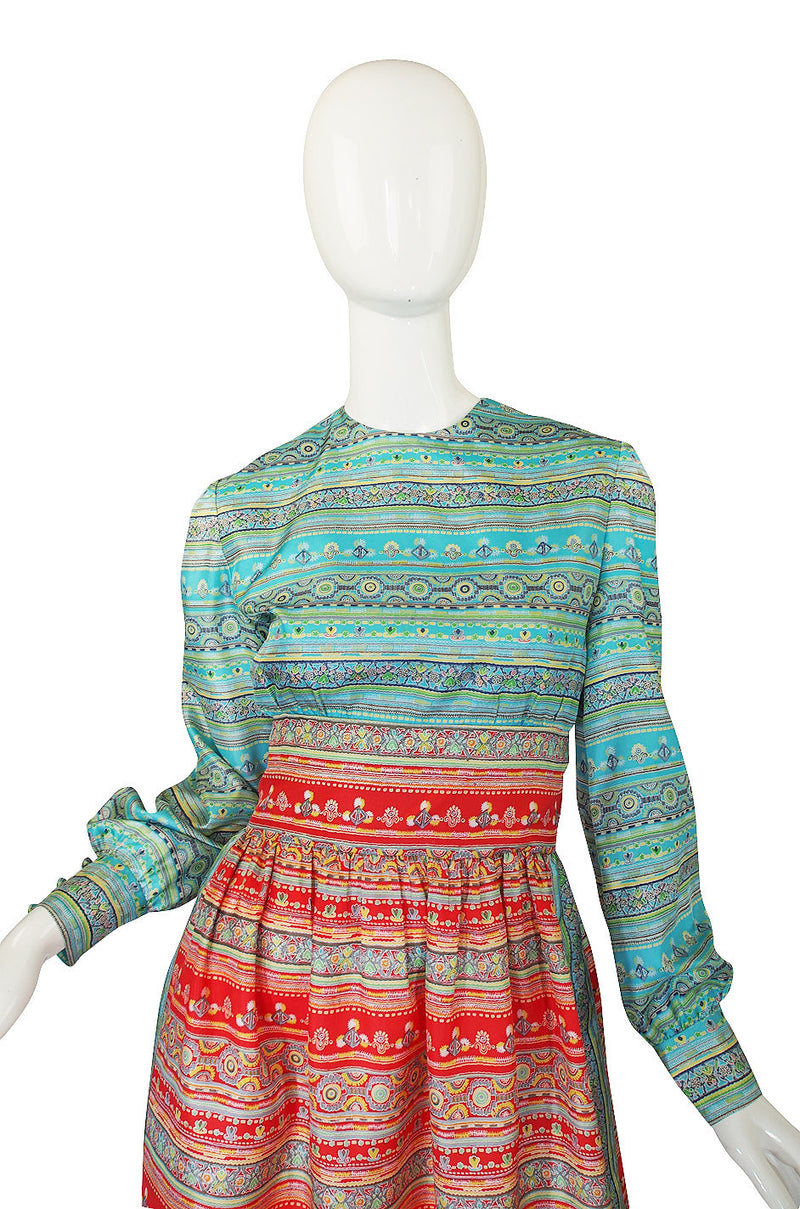 1970s Mollie Parnis Blue & Red Day Dress