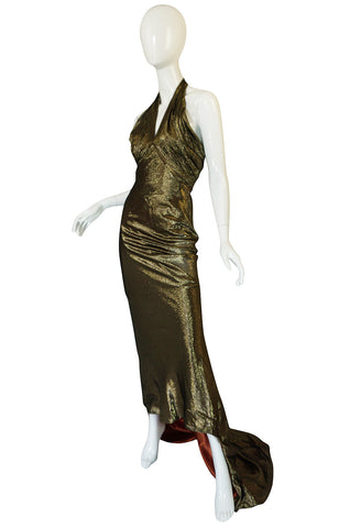 1930s Hollywood Starlet Burnished Gold Trained Halter Dress