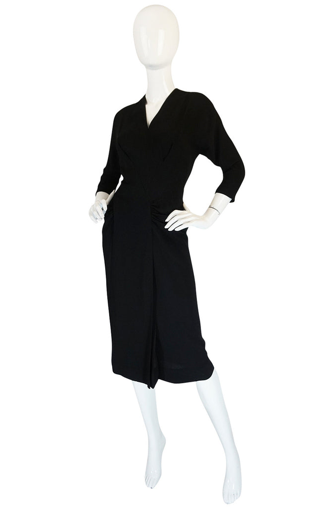 1950s Dorothy O'Hara Unusual Black Front Panel Dress