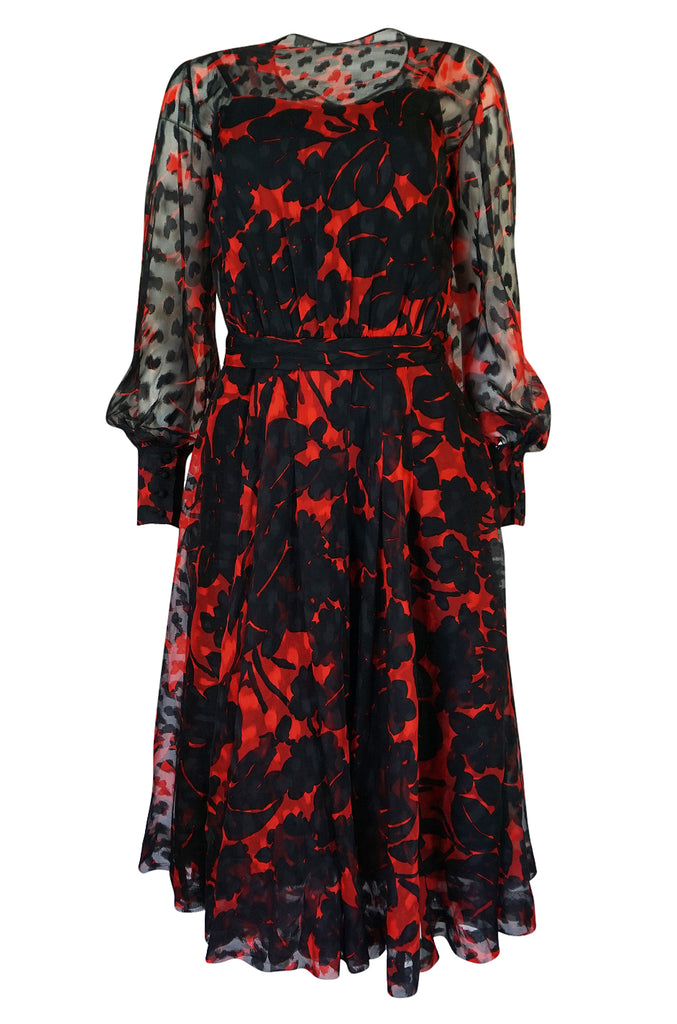c.1976-77 Chanel True Haute Couture Red & Black Floral Print Silk Dress
