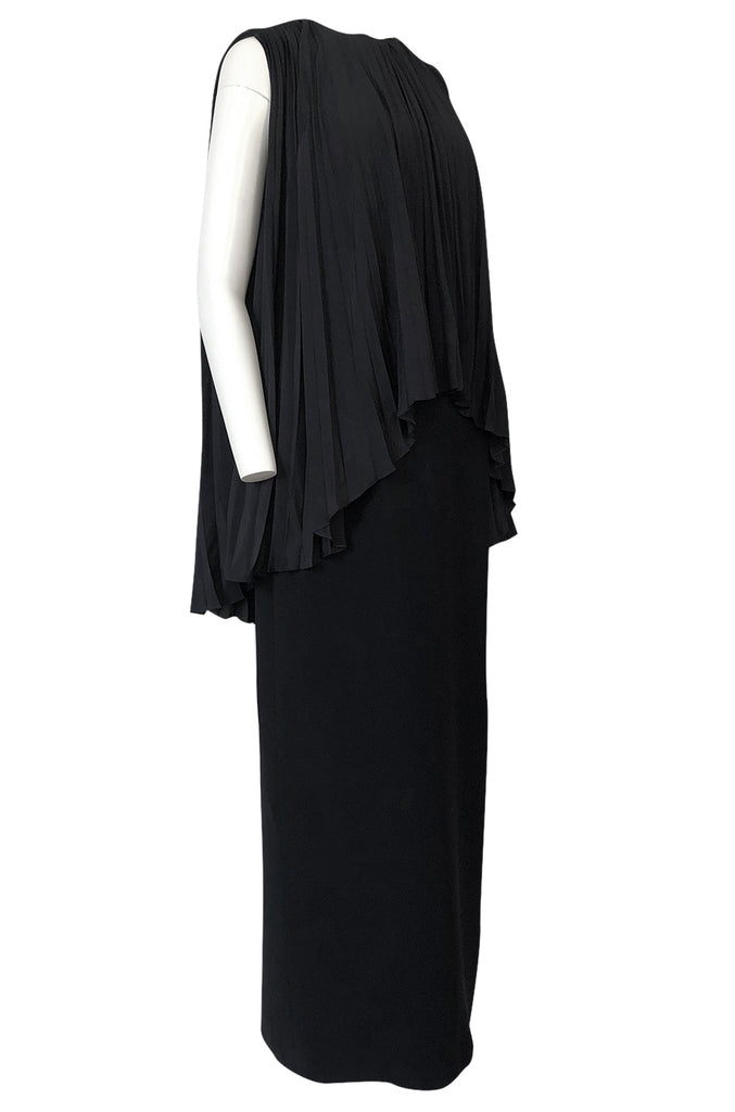 1990s Christian Dior Chic Black Sheath Dress w Pleated Cape Overley