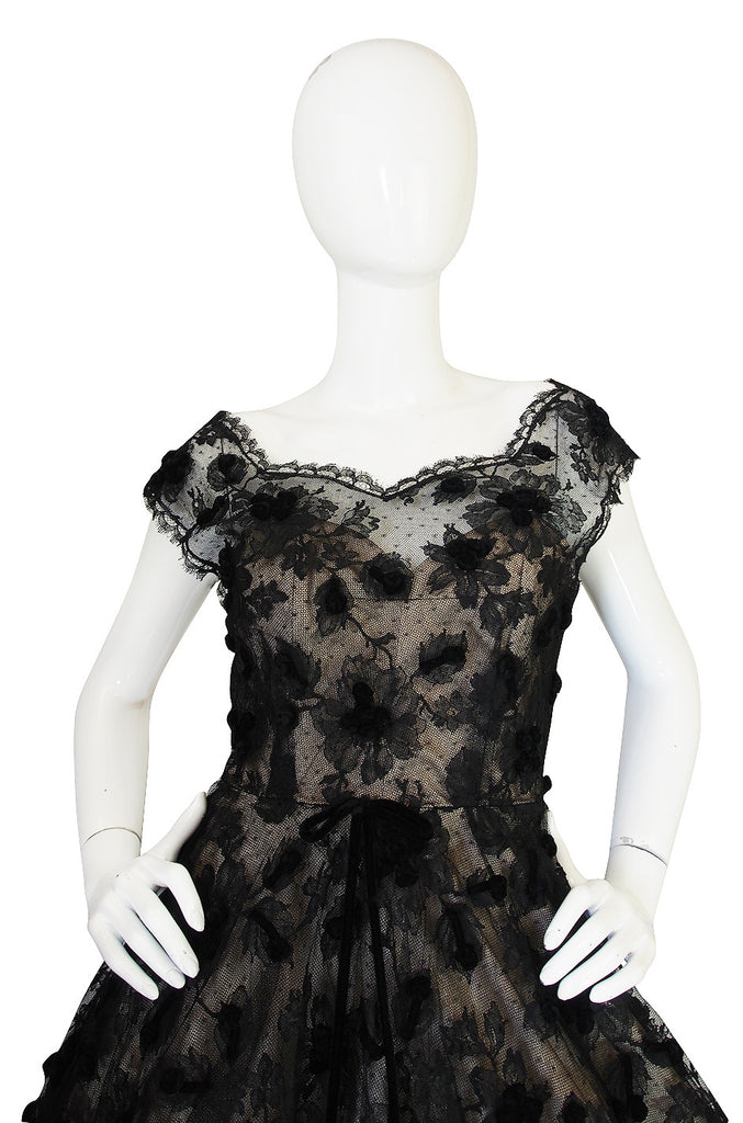 1950s Mildred Davis Lloyd Owned I. Magnin Lace Dress