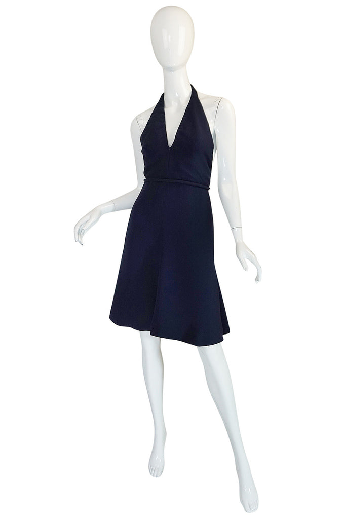 1960s Jean Patou Numbered Haute Couture Navy Backless Halter Dress