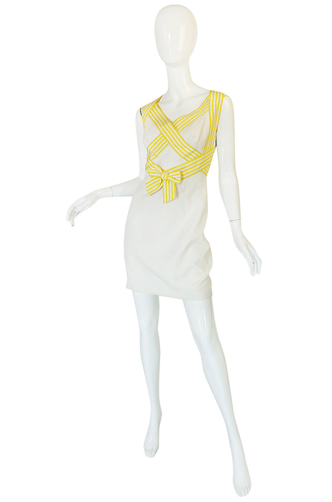 1980s Thierry Mugler Open Cross Back Cotton Dress
