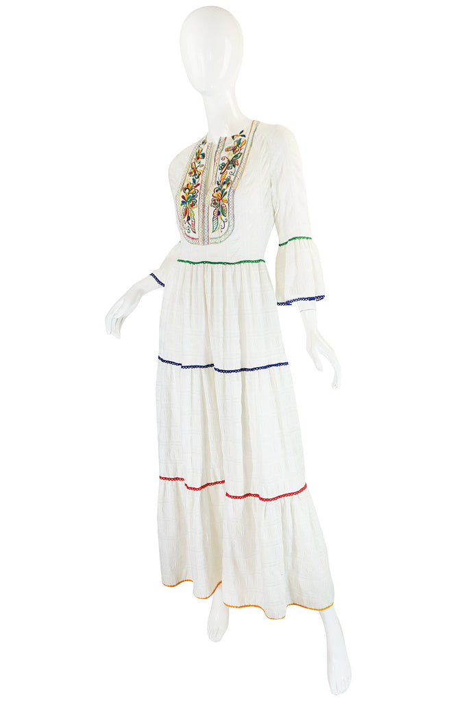 1960s Miss K Embroidered White Cotton Dress