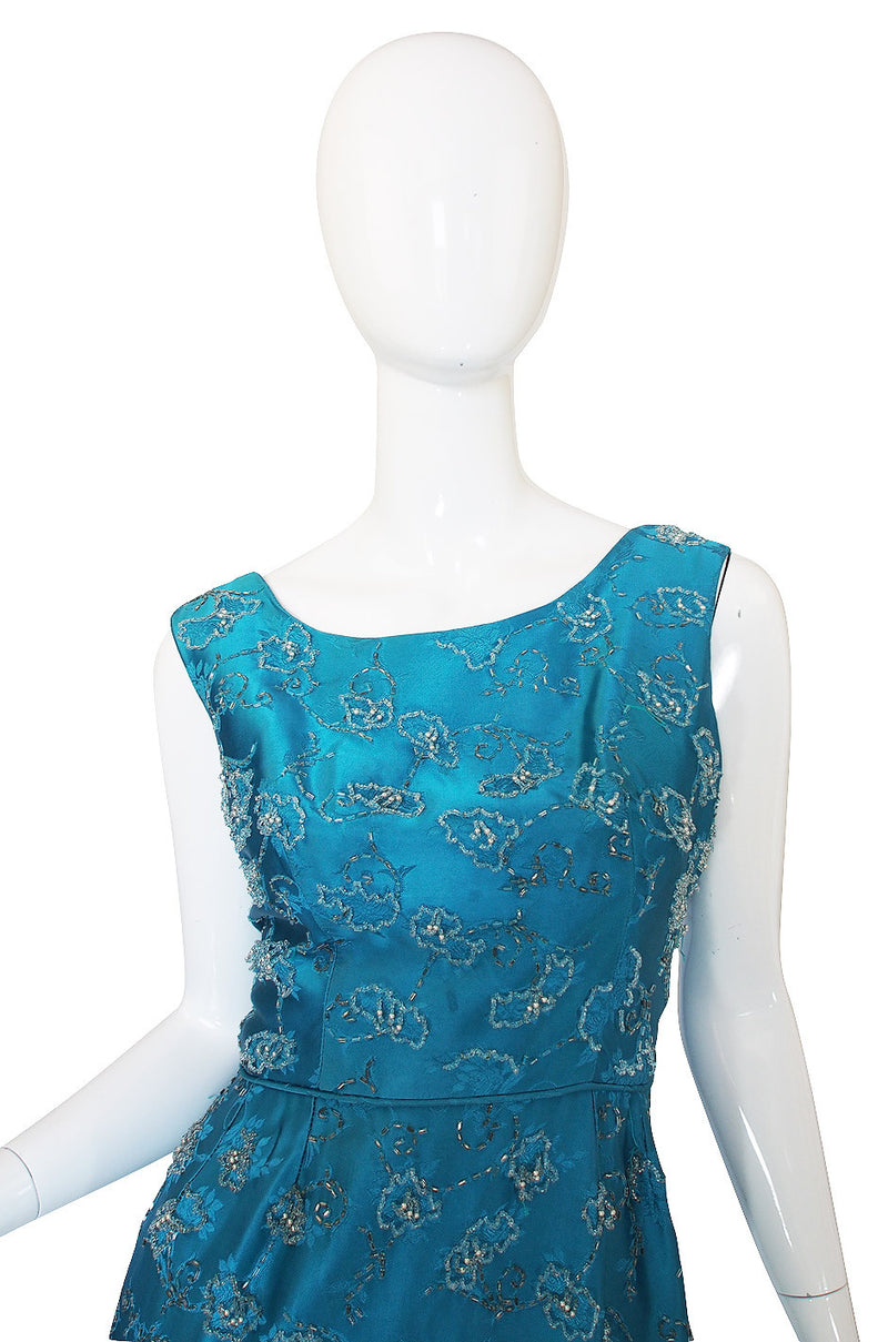 1950s Fully Beaded Brillant Turquoise Gown