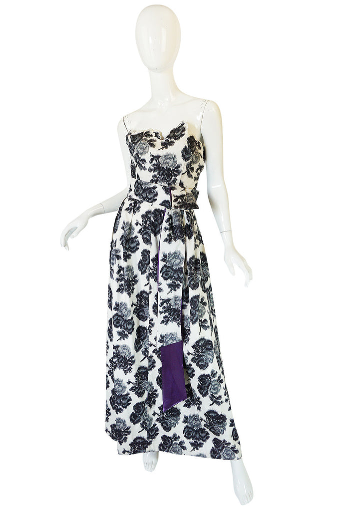 1960s Washed Graphic Floral Print Strapless Gown