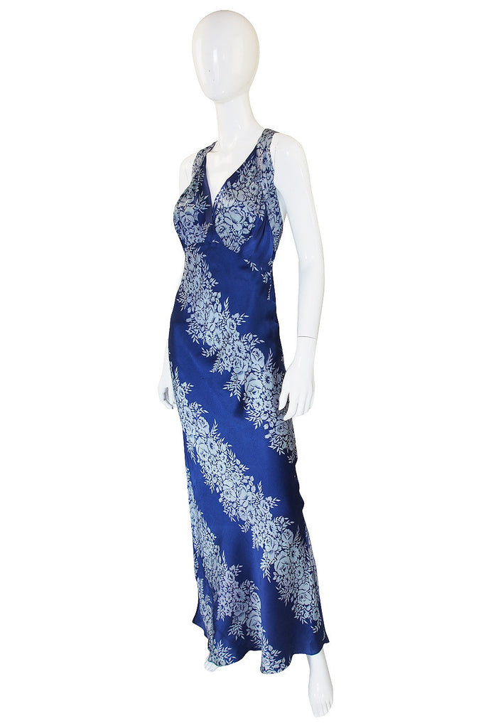 1930s Blue Bias Cut Silk Spiral Gown